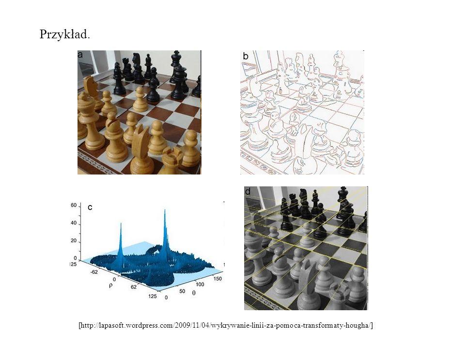 Przykład.[http://lapasoft.wordpress.com/2009/11/04/wykrywanie-linii-za-pomoca-transformaty-hougha/]